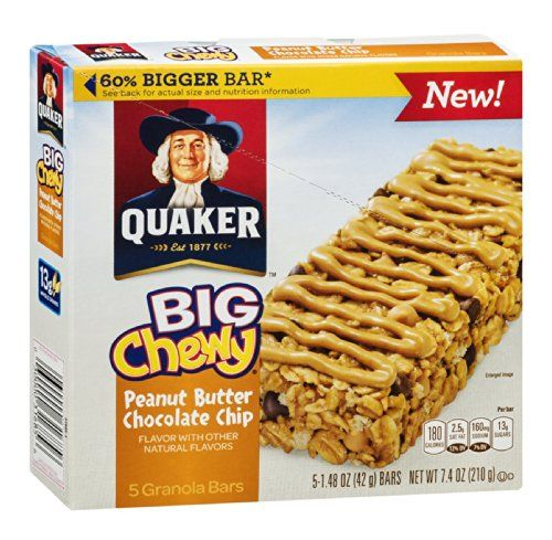 Quaker Granola Bars Big Chewy Peanut Butter Chocolate Chip 74 oz Pack of 12 -- Continue to the product at the image link.