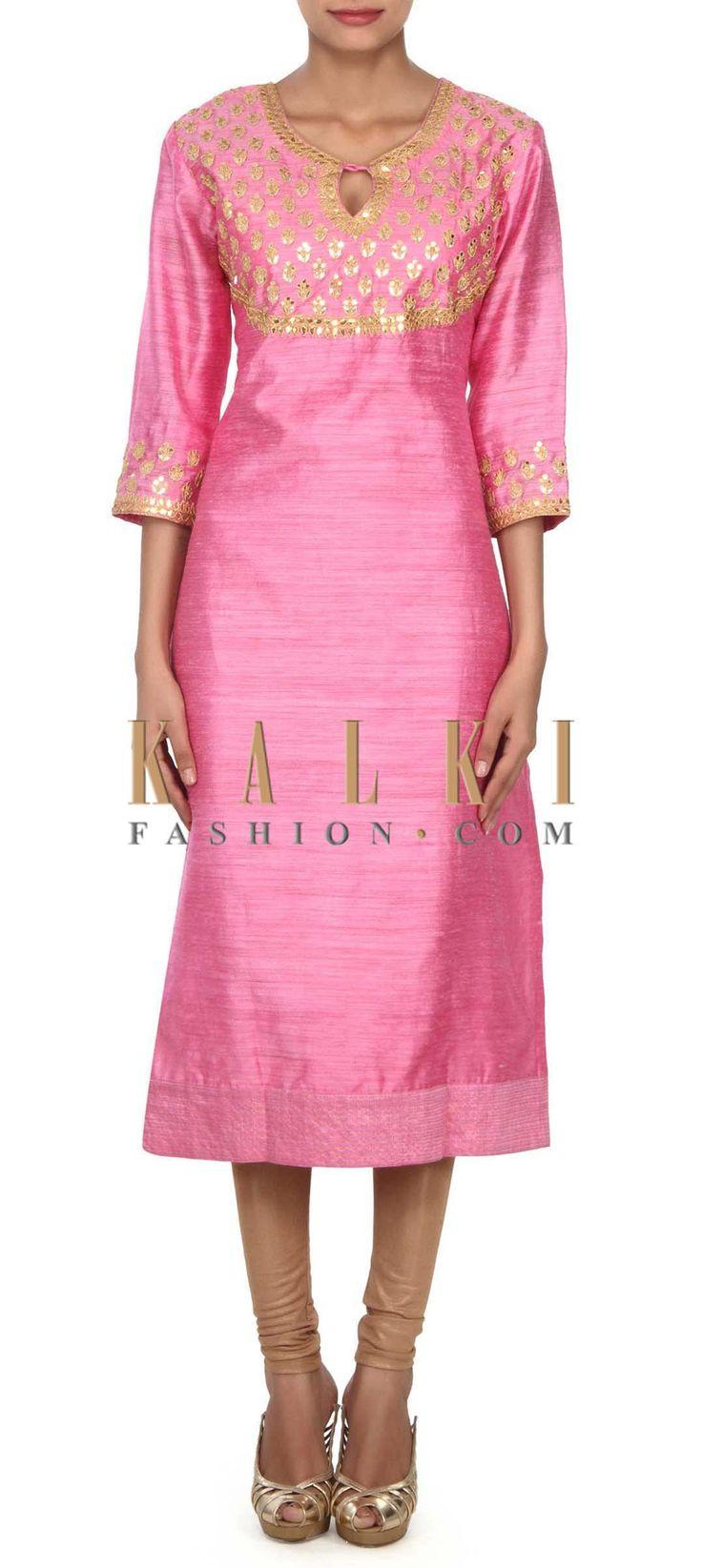Buy this Pink kurti adorn in gotta patch work at yoke only on Kalki