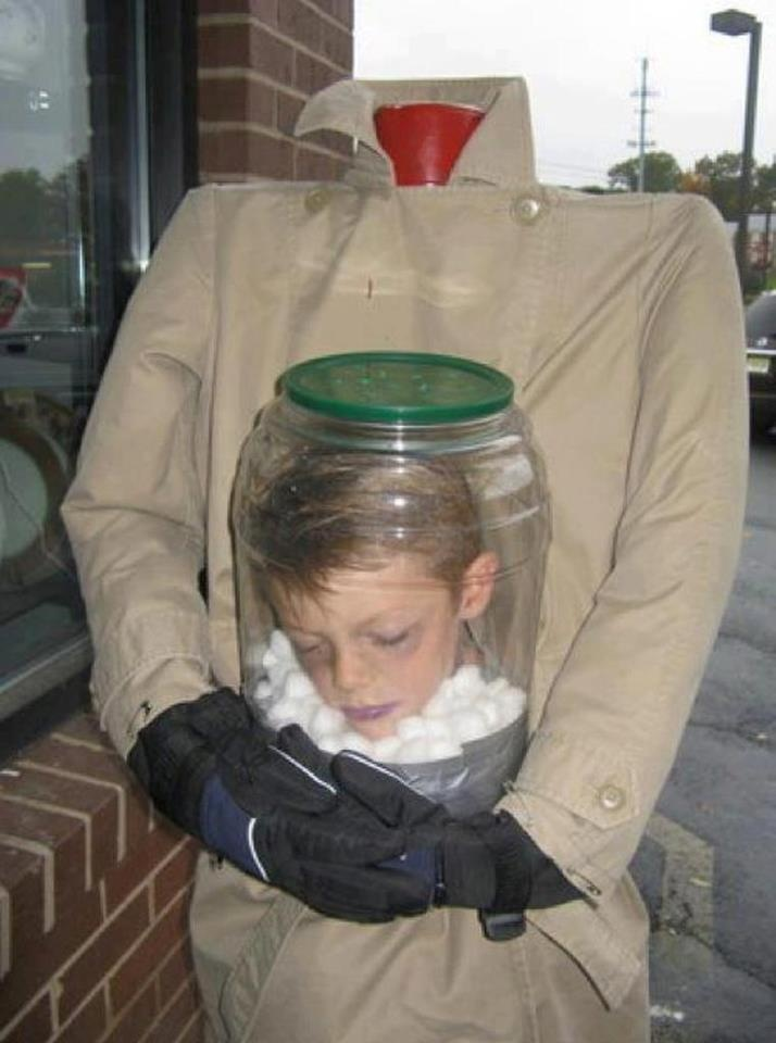 Totally freaky. Kids live head in a jar costume