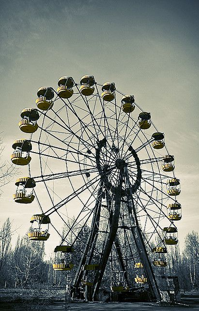 chernobyl ferris wheel. Creepy. But I'd love to see the abandoned cities