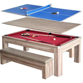 Hathaway Newport 7' Melamine-Covered MDF Convertible Pool Table Combo Set with Cushioned Leatherette Storage Benches
