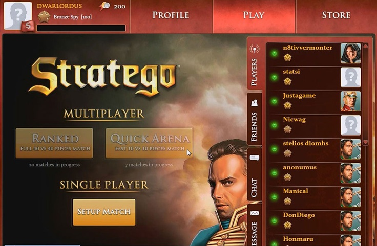 Stratego is a multi platform Free to Play, Turn Based Board MMO Game.