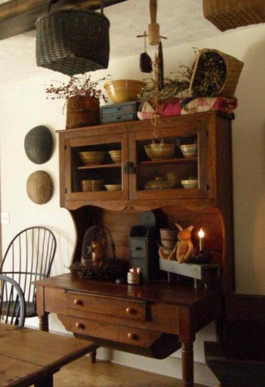 A Primitive Place Colonial Inspired Dining Rooms Love The Hutch