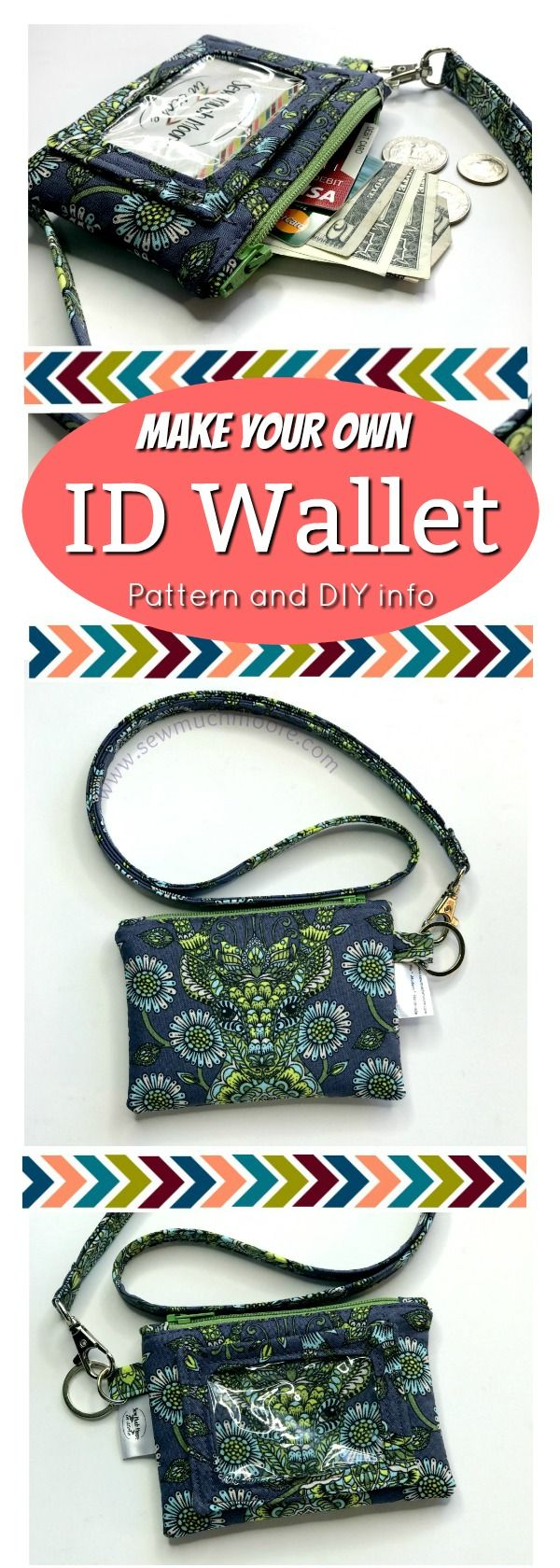Make your own ID Wallet with detachable lanyard.  Get your sewing pattern plus tips and tricks!