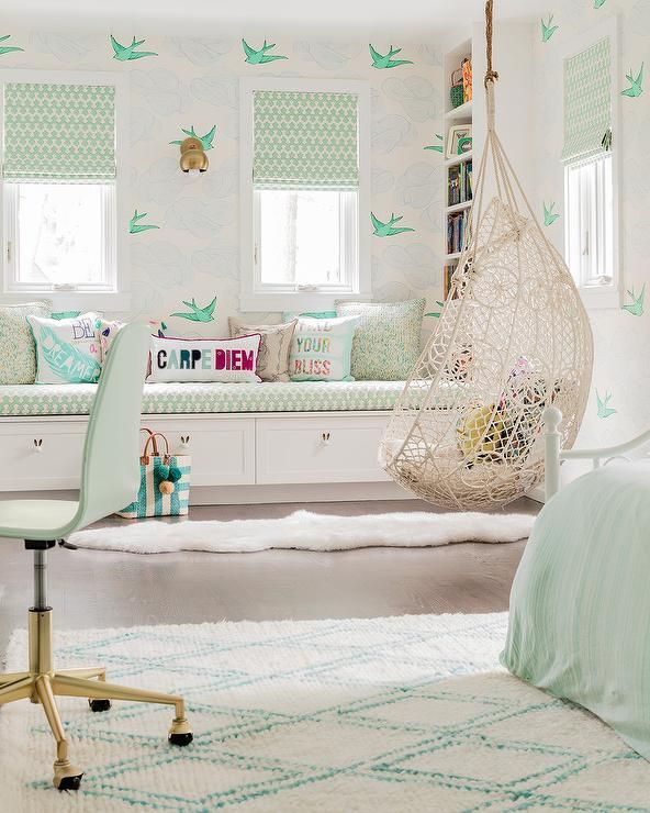 mint green girl bedroom features an knotted melati hanging chair displaying a knotted rope lace