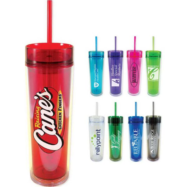 Have a drink to a truly successful promotional product! This Slender Sip Tumbler measures 16 oz and features a double wall acrylic tumbler in a tall and slender design for stylish look. This item features a matching PolyPro straw and snap on lid so people will admire this fun and unique accessory. Please note this item is not microwavable and is hand wash only. This is the perfect promotion item for coffee shops, conventions and tradeshows alike! BPA free!