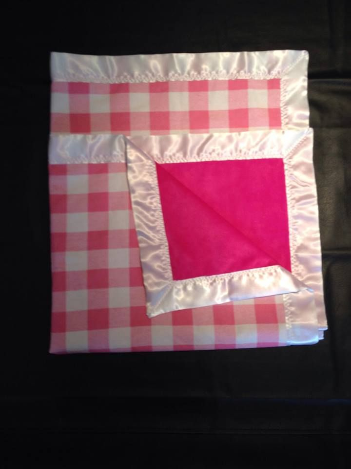 pink plaid with pink chenille and white trim. 36x36""