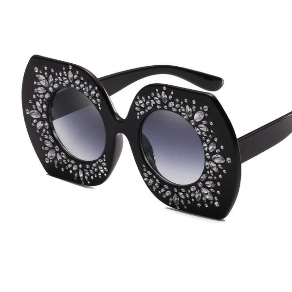 #SUNGLASSES #NEW Retro Modern Brand Designer Women Sunglasses Oversized Round Crystal gilded Glasses Hot 2017 shades Lentes de sol mujer