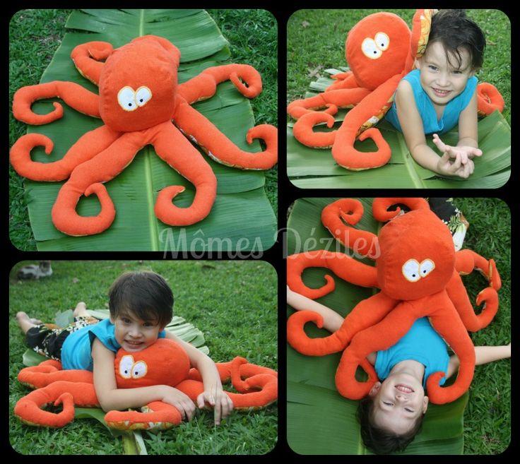 Peluche pieuvre, doudou pieuvre, octopus, décoration chambre enfant, mômes Déziles Tahiti #L'Attaque de Mme  pieuvre#