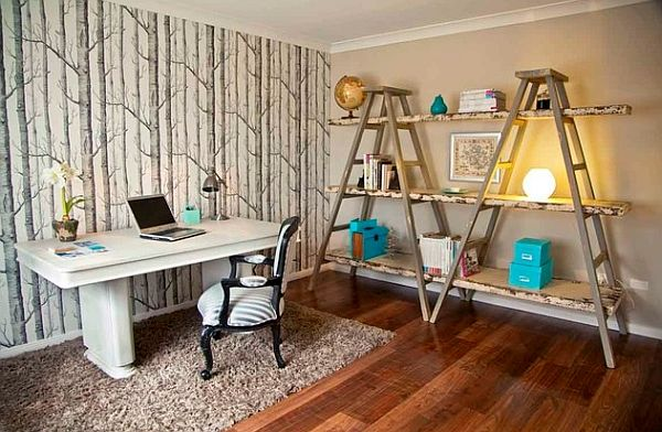 Pops of color used to decorate the unique shelves #homeoffice