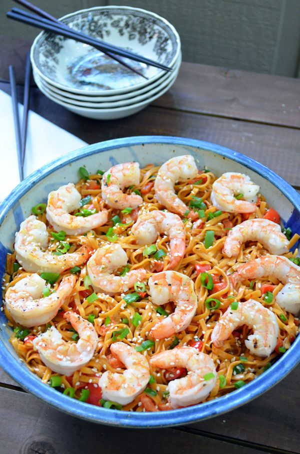 Asian Pasta Salad with Shrimp and Peanut Butter-Ginger Dressing