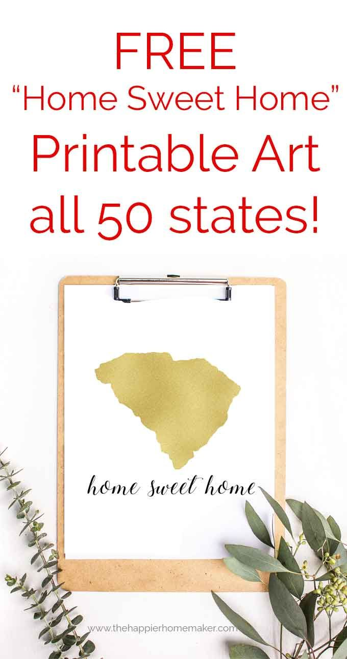 Free Home Sweet Home State Printables