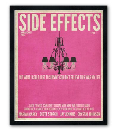 New poster line for my shop. I've seen these done for movies but not songs...I'm psyched! Love how they are turning out! Side Effects by Mariah Carey lyric poster. #lyrics #mariah
