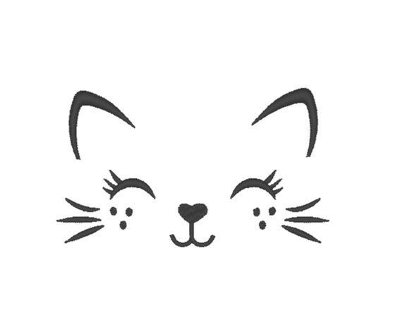 Pretty Kitty Face Machine Embroidery Embroidery Design Cat Etsy Machine Embroidery Cat Kitty Face Paint Machine Embroidery