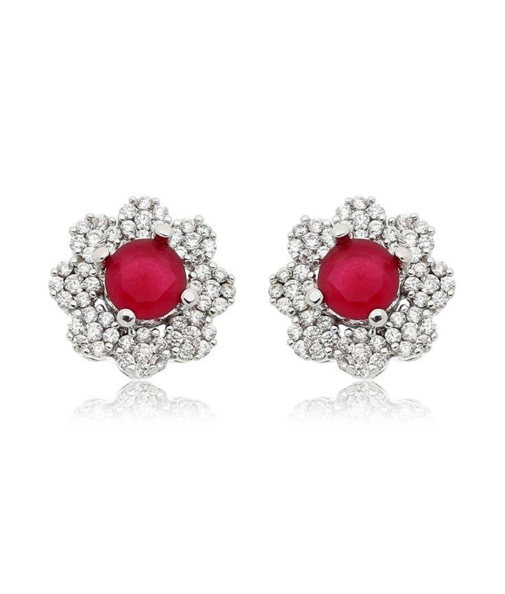 Brinco flor de luxo rubi candy com zirconias semi joias