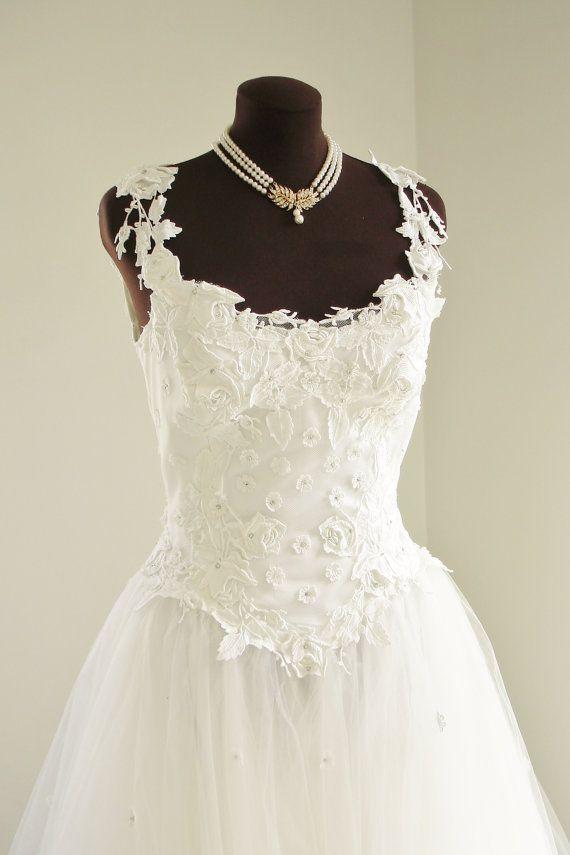 Vintage Priscilla of Boston Wedding Dress with Full by TheTealDoor