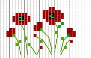 Red Poppies cross stitch pattern Etui aiguilles coquelicots