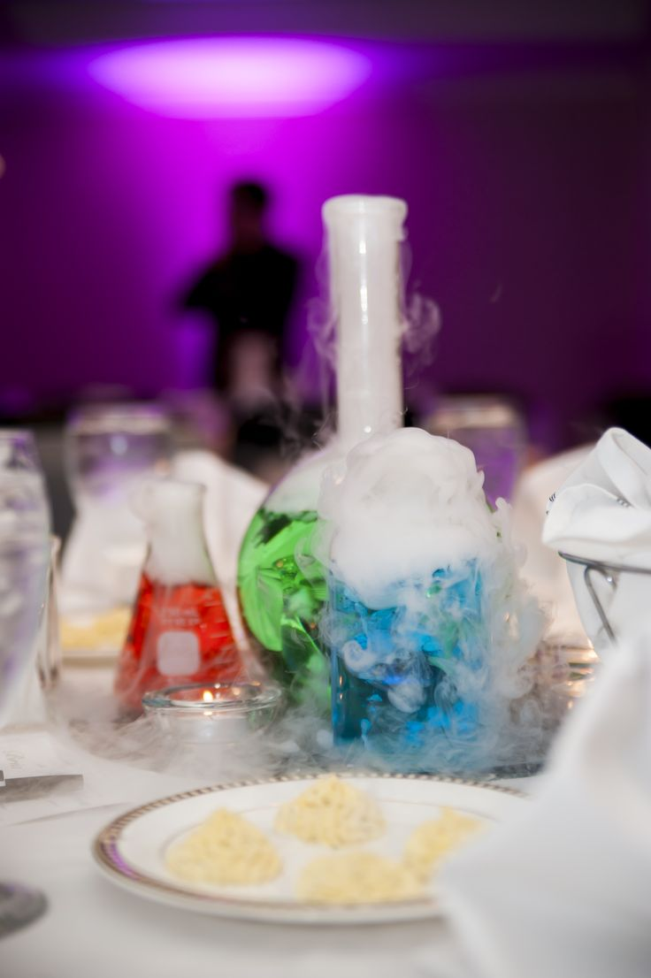 Chemistry Wedding Centerpieces Glassware Colored Water