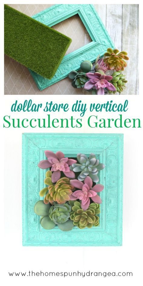 Make your own vertical succulents garden with supplies from your local dollar store and a few other basic supplies!