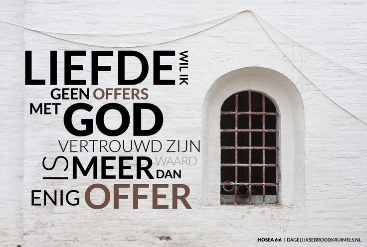 Want liefde wil Ik, geen offers; met God vertrouwd zijn is meer waard dan enig offer. Hosea 6:6  #God, #Liefde  https://www.dagelijksebroodkruimels.nl/hosea-6-6/