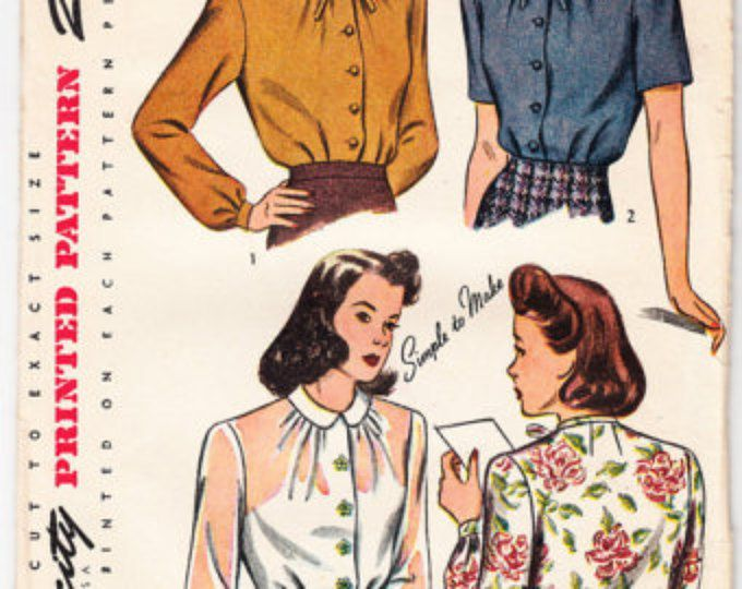 Vintage 1943 Simplicity 4814 Sewing Pattern Misses' and Womens' Blouse Size 14 Bust 32