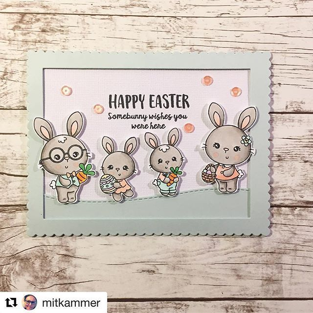 Adore this sweet card!! #Repost @mitkammer with @repostapp  ・・・   H A P P Y  E A S T E R  somebunny wishes you were here  Ohhhh how adorable is this bunny family from @craftindesertdivas I'm in looooove  #mitkammer #cardmaking #craftindesertdivas #somebunny #happyeaster #copiccoloring #paperlove #handmadewithlove #clearstamps #craftygirl #kartendesign #bunnyfamily #easter #cuteness #pastels #mintgreen #peach #peachy #sequins #happytime