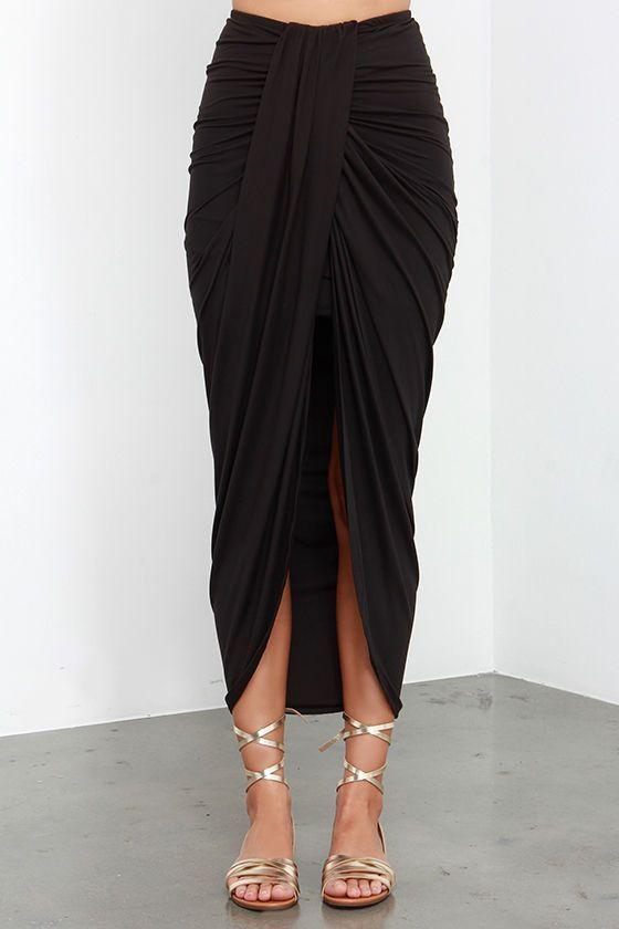 Black Wrap Maxi Skirt: