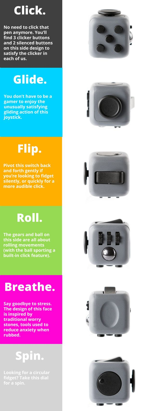 Meet the Fidget Cube, a six-sided vinyl toy designed to help fidgeters manifest…                                                                                                                                                                                 More