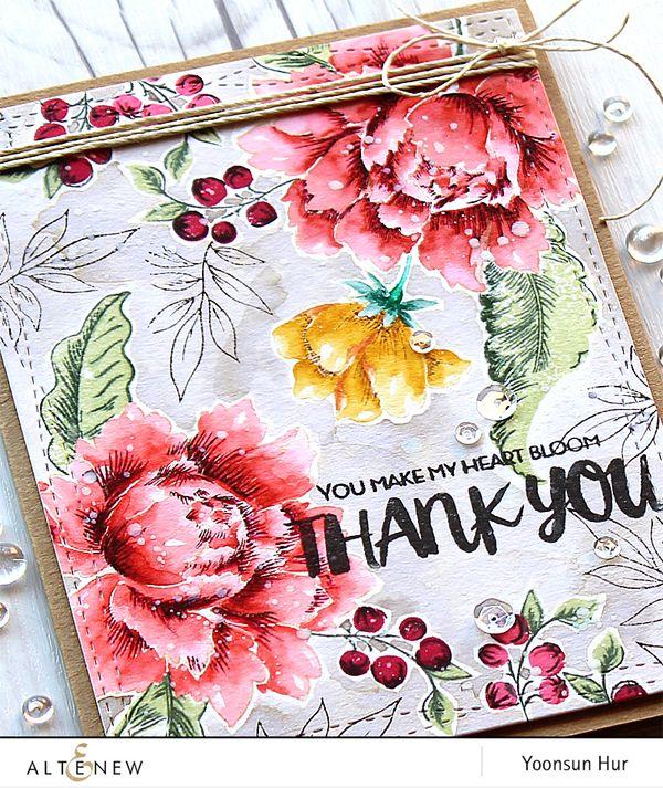 Yoonsun Hur (new Altenew DT member) close up card - Altenew Peony Bouquet & Oriental Orchid