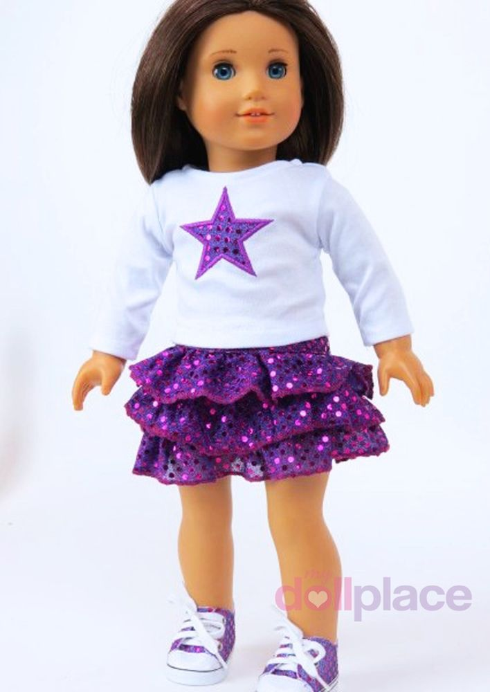 Shoes fits 18 inch American Girl Doll Clothes Skirt Set Purple Star Top Outfit