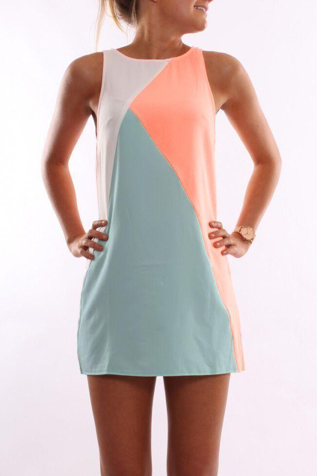 Orange Blue Sleeveless Color Block Dress| OUTRA OPÇÃO DE COMBINADO TRICOLOR PARA O VESTIDO RECORTES
