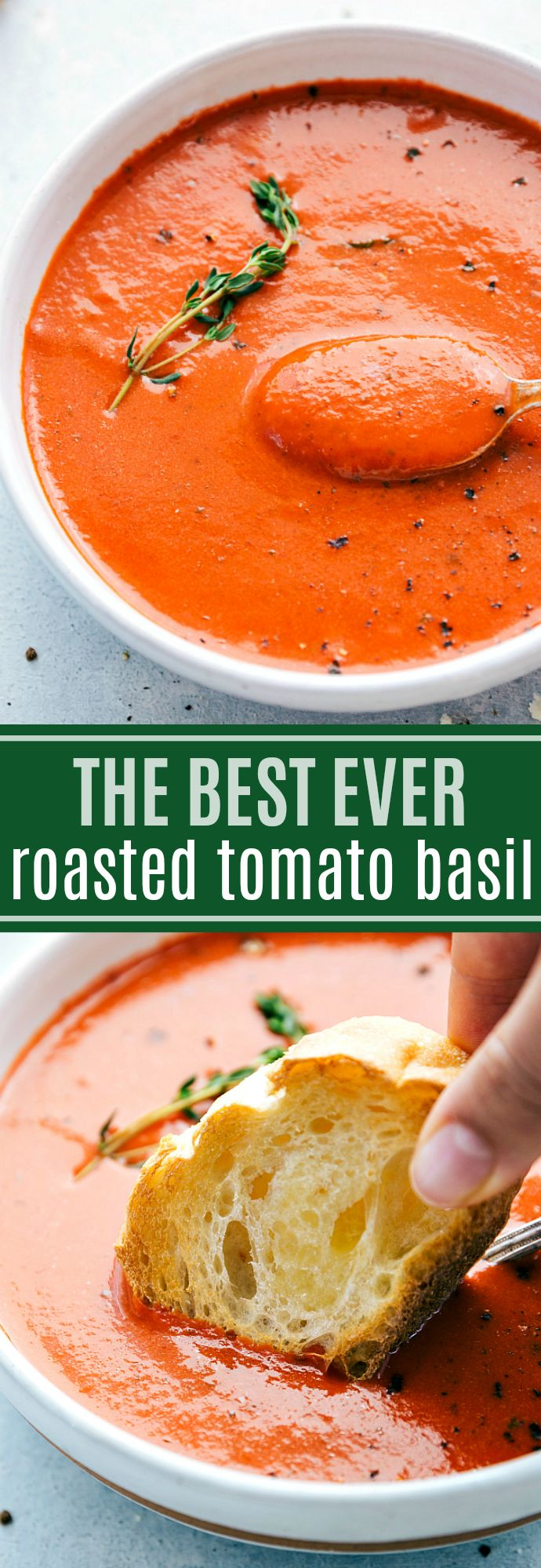 The BEST roasted tomato basil soup! Delicious, healthy, and so hearty!