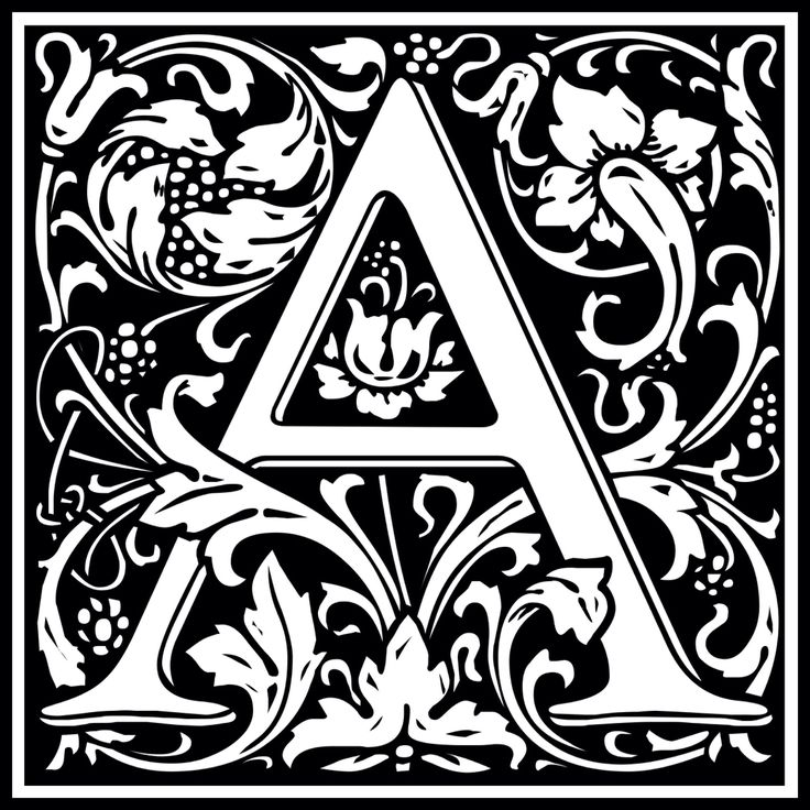 """William Morris design of the letter A, converted from a font """"Goudy Initialen"""" by Dieter Steffmann"""