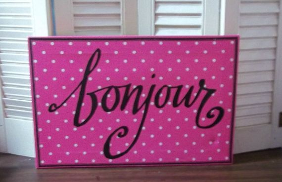 French Country...Bonjour Canvas On Mat Board