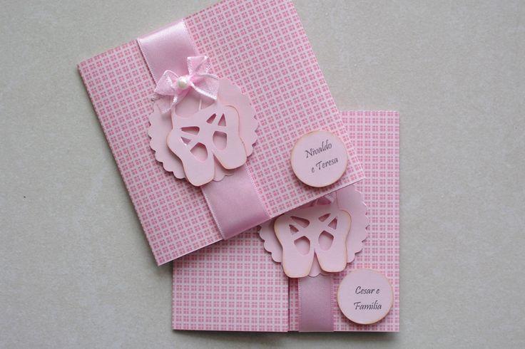 Convite bailarina baby, confeccionado em Scrapbook. Encomendas - 49 3567-0204
