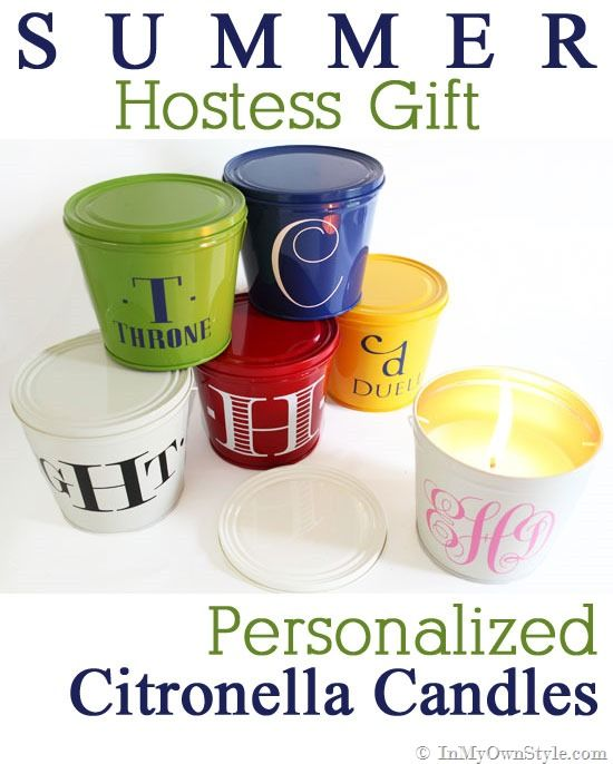 Monogrammed Outdoor Candles: Summer Party Hostess Gift
