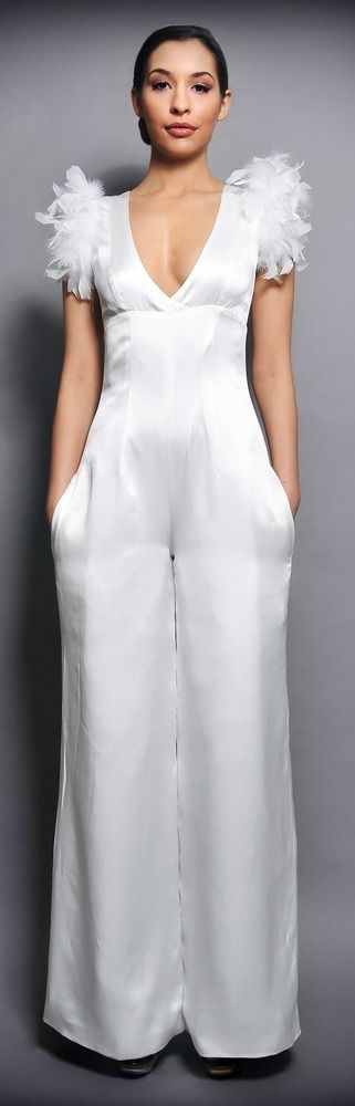 bridal evening jumpsuit made in satin well fitted with. Black Bedroom Furniture Sets. Home Design Ideas
