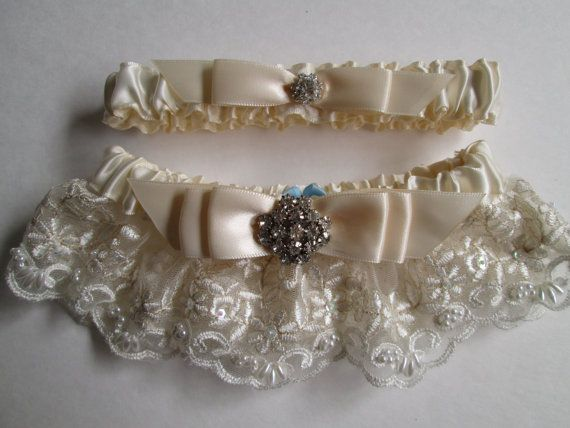 RESERVED For TAMARA HEADLEY Single White Wedding Garter Lace With Tossing Ivory Vintage Deco Bride