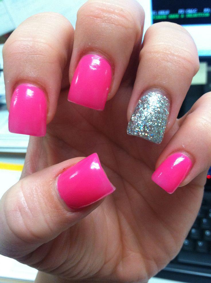 hot pink sparkle acrylic nails nail designs pinterest