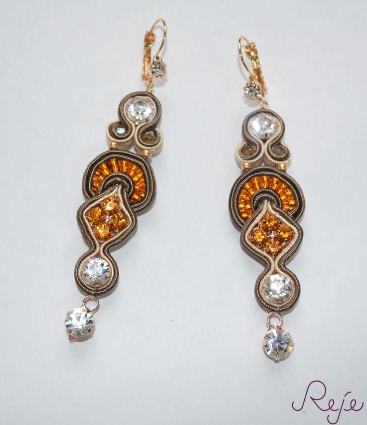 """Soutache earrings """"Amber"""" -Reje- OOAK earrings https://www.etsy.com/shop/Rejesoutache?ref=hdr_shop_menu"""