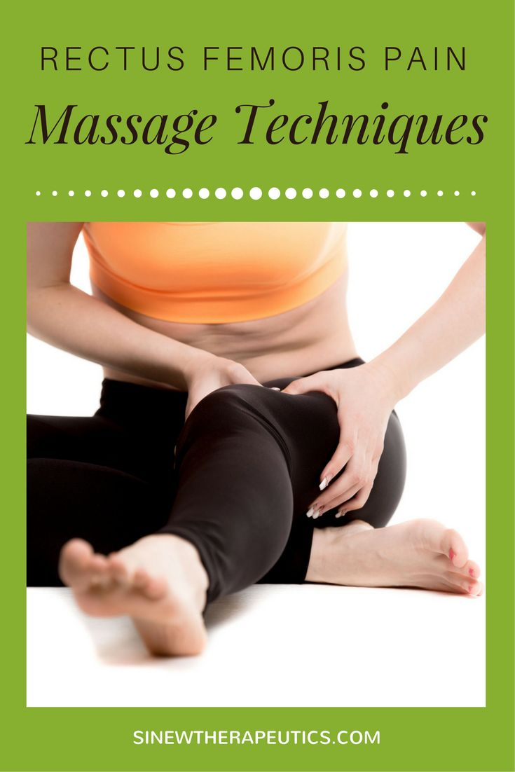 These massage techniques are of great value in rectus femoris pain relief; circulation stimulation; dispersing blood and fluid accumulations; swelling reduction; and relaxing muscle spasms, especially when used alongside the Sinew Therapeutics liniments and soaks.