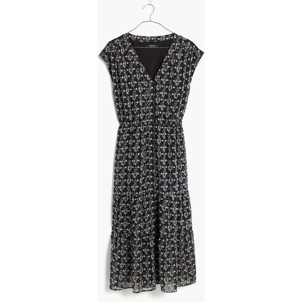 MADEWELL Dawnlight Maxi Dress in Artisan Floral (€170) ❤ liked on Polyvore featuring dresses, bohemian charcoal grey, bohemian dresses, day party dresses, floral print dress, night out dresses and floral dresses