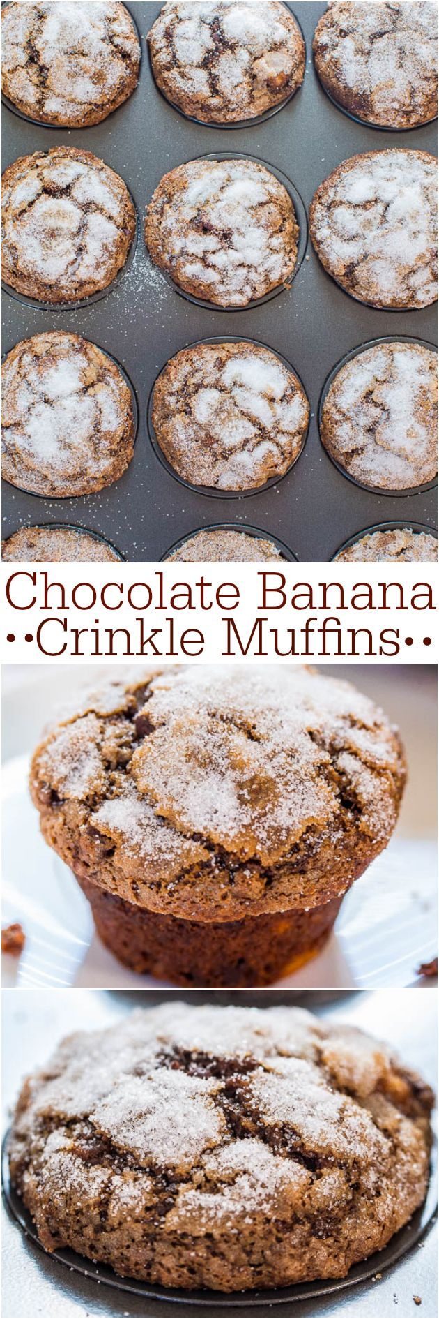 Chocolate Banana Crinkle Muffins - Have ripe bananas to use? Make these easy, no mixer chocolate beauties! Best.muffin.tops.EVER!!!