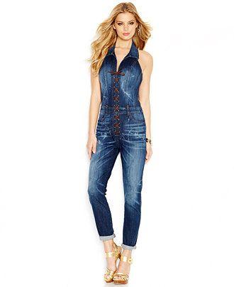 GUESS Denim Lace-Up Jumpsuit - Jumpsuits & Rompers - Women - Macy's