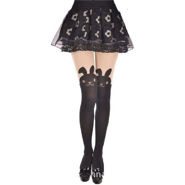 AM Landen Japanese Sexy Bunny Rabbit Mock with TAIL TIGHTS Pantyhose ($7.95) ❤ liked on Polyvore featuring intimates, hosiery, tights, accessories, skirts, panty hose stockings, pantyhose stockings, sheer tights, sexy stockings and bunny tights