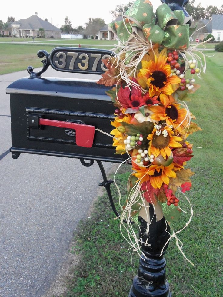Fall sunflower mailbox swag