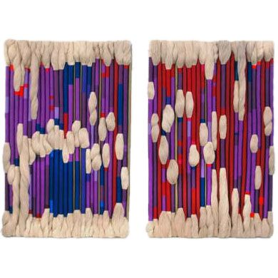 I want to make out with these awesome Sheila Hicks fiber art wall hangings. Id prefer them to be in my home buy for $90k I'll have to pass