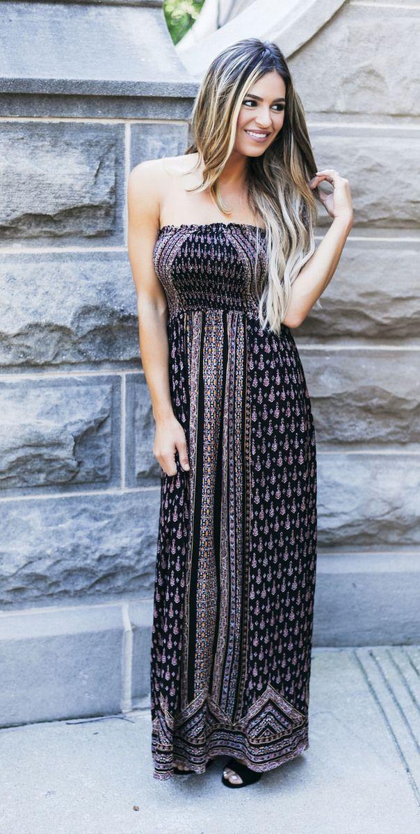 Black Printed Tube Maxi Dress - Dottie Couture Boutique