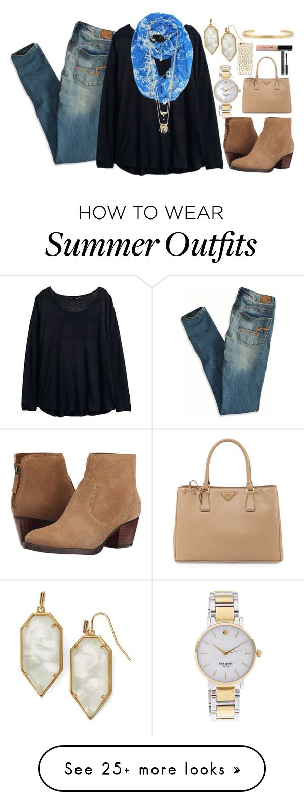 """Borrrreeeeddddddd"" by classically-kendall on Polyvore featuring American Eagle Outfitters, H&M, Kendra Scott, Kate Spade, Alexis Bittar, Nine West, Prada, BaubleBar, Jennifer Fisher and Bobbi Brown Cosmetics"