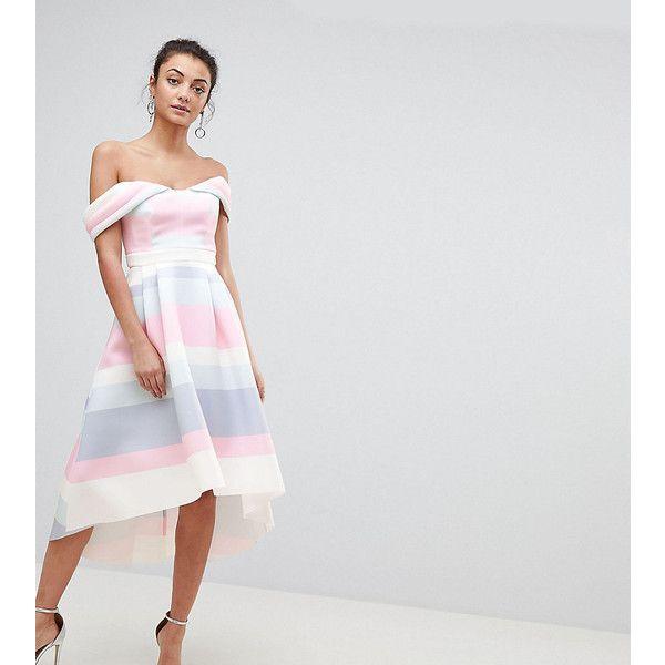 ASOS TALL Bardot Cold Shoulder Dip Back Pastel Stripe Prom Dress ($95) ❤ liked on Polyvore featuring dresses, multi, hi lo dresses, hi low dress, v neckline dress, v neck prom dress and cold shoulder prom dress